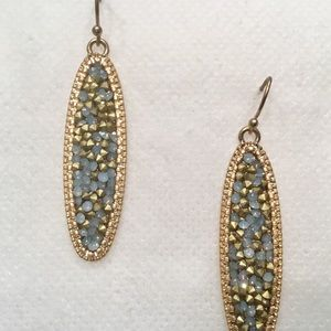 Turquoise Blue and Gold Stone Earrings